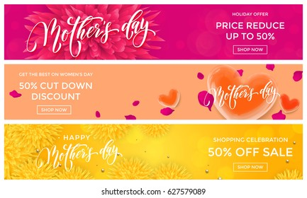 Mother Day Sale web banners with hearts and flowers on premium pink and yellow floral background for springtime discount promo shopping design template