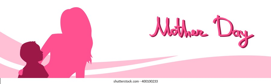 Mother Day, Silhouette Woman Sit Embracing Child, Family Love, Horizontal Banner Abstract Background Flat Vector Illustration