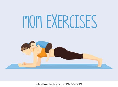 Mother doing abdominal exercises on blue mat by daughter lying on her back. Healthy lifestyle concept