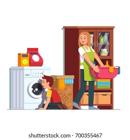 Mother doing housework at home laundry room. Kid sitting in front of washing machine watching drum. Housewife woman carrying clean clothes basin. Mom & son do chores together. Flat vector illustration