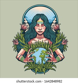 Mother earth day character illustration
