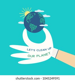 Mother Earth Day concept. Slogan clean up planet from plastic pollution. Stop polluting the earth symbol. Ecological design element. Green world banner background, flyer template. Vector illustration