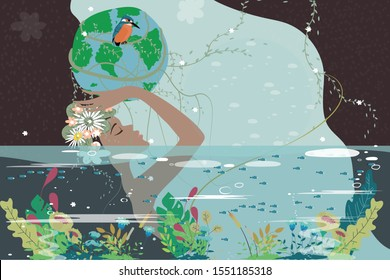 Mother earth day poster with nature beauty woman holding planet, World environment day background, Save the earth or Green day concept