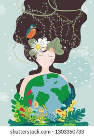 Mother earth day poster with planet and nature beauty woman. World environment day background, Save the earth or Green day concept