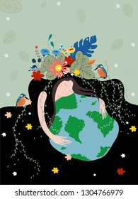 Mother earth day poster with planet, Nature beauty woman hugging the globe. World environment day background, Save the earth or Green day concept, Earth day on April 22.