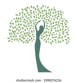 mother earth, lady become beautiful tree, logo. personal grow,  healing, connection with earth