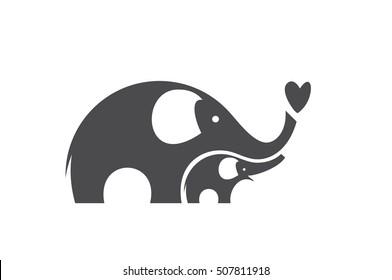 Mother elephant with a baby elephant. Cute elephants. Logo. Vector silhouettes.