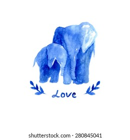 mother elephant with child. watercolor elephant mother with baby. Blue illustration. Love text. Happy mother's day card template.  branch watercolor. sweet animal