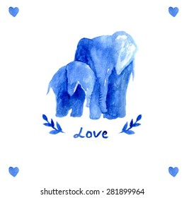 mother elephant with child. watercolor elephant mother with baby. Blue illustration. Love text. Happy mother's day card template. heart. branch watercolor. sweet animal