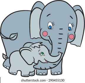 Mother elephant and little elephant illustration. Animals vector. Animals cartoon.