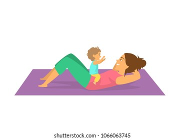 mother exercising together with her baby,woman doing postnatal workout cute isolated vector illustration scene