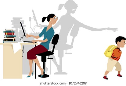 Mother experiencing separation anxiety when she returns to work and her son goes to school, EPS 8 vector illustration