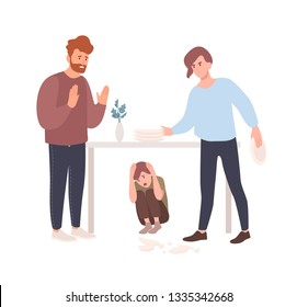 Mother and father brawling or quarreling in presence of child hiding under table. Parents shouting at each other. Conflict between mom and dad. Unhappy family. Flat cartoon vector illustration.