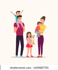 Mother and father with children and dog. Happy family isolated.Vector flat style illustration