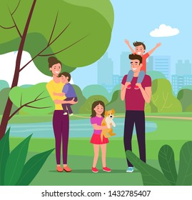 Mother and father with children and dog. Happy family in the park.Vector flat style illustration