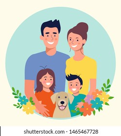 Mother and father with children and dog. Happy family. Vector flat style illustration