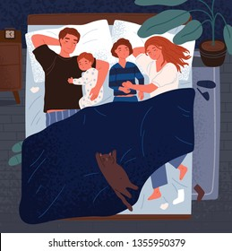 Mother, father and children sleeping together on one bed. Mom, dad and kids embracing each other and slumbering at night. Happy loving adorable family. Flat cartoon colorful vector illustration.