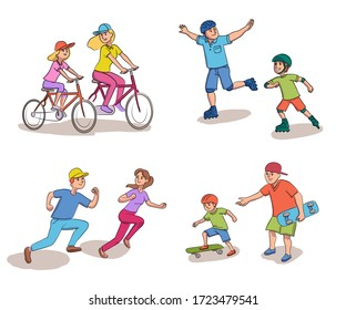 Mother, father, daughter and son running, cycling, roller skates and skateboarding. Happy parenthood, childhood, spend time together, parents and children play set. Vector cartoon character bundle