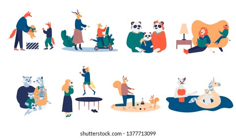 Mother and father educating and teaching their kid. Bundle of happy loving family scenes. Good parenting and nurturing flat vector illustration. Care, trust and support between parents and children