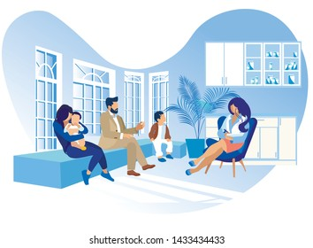 Mother and Father with Kids on Psychologist Consultation. Problem Solving between Parents and Children. Support, Family Psychological Therapy, Doctor Appointment. Cartoon Flat Vector Illustration