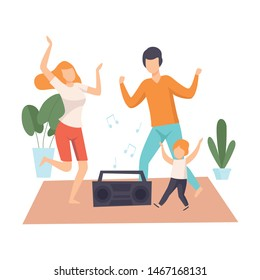 Mother, Father and Son Dancing Together, Parents and Their Son in Everyday Life at Home Vector Illustration