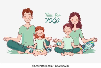 Mother, father and and two children doing yoga in lotus position. Family yoga vector illustration