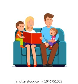 Mother & father with two kids family sitting on a couch together. Parent reading kids book aloud to a child. Flat style character isolated vector illustration on white