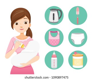 Mother Feeding Baby With Milk In Baby Bottle. Baby Icons Set, Mother's day, Suckling, Infant, Motherhood, Innocence
