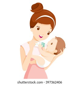Mother Feeding Baby With Milk In Bottle, Mother's day, Sucking, Infant, Motherhood, Innocence