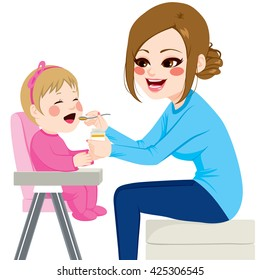 Mother feeding baby with spoon sitting on chair