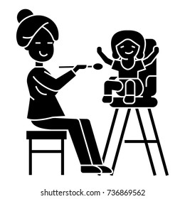 mother feeding child icon, illustration, vector sign on isolated background