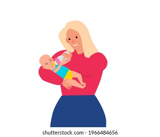 mother  feeding her baby from bottle vector illustration