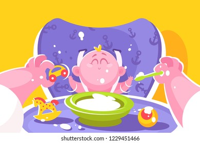 Mother feeding little baby flat poster vector illustration. Female hands holding spoon and toy car. Child sitting on chair for kids with plate of meals and different playthings. Concept of motherhood