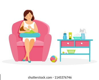 Mother feeds her baby. Mom and baby. Breastfeening.Vector illustration. Isolated on white background