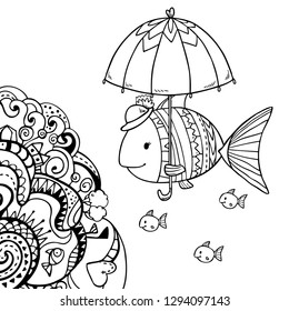 Mother fish with her kids under umbrella. Cute vector illustration with abstract decorative pattern elements on white background for coloring art