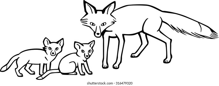 Mother Fox and Cubs
