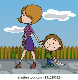 Mother furious at her son because of his test fail. Vector illustration. Cartoon.