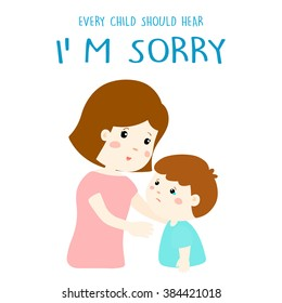 mother gently tell her son I'm sorry vector illustration