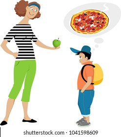 Mother giving an apple to a displeased boy who wants pizza, EPS 8 vector illustration