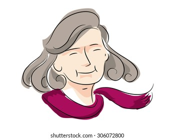 mother, grandmother, old lady vector drawing on white background, illustrate eps10