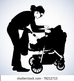 Mother has bent down over a baby carriage and arranges a body of the child.