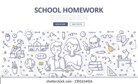 Mother helping son with school homework. Concept of joint efforts between children and their parents in school education. Hand drawn illustration for web banners, hero images, printed materials