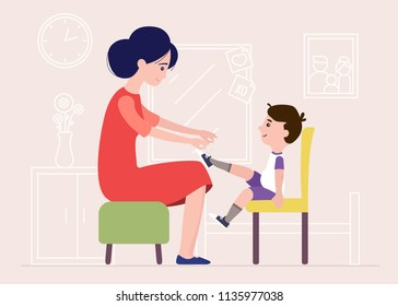 Mother Helping Sun Tie Shoe Laces In The House
