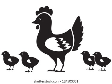 Mother hen and four small chicken