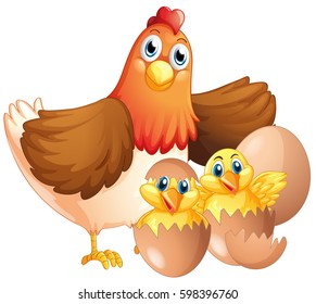 Mother hen and two chicks illustration