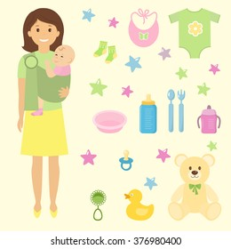 Mother and her child in sling ring.Baby Supplies. Vector illustration