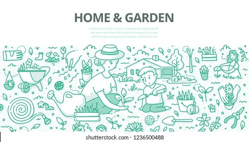 Mother and her little son planting flowers and herds in the garden near the home. Doodle concept of gardening for web banner, hero images and printing materials