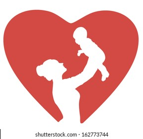 Mother hold Child baby in heart