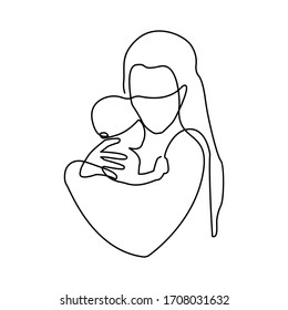 Mother holding baby child one continuous line art family happiness illustration in modern artistic design.