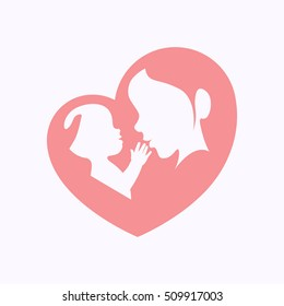 Mother holding a baby with her arm in heart shaped silhouette, happy mother's day celebration